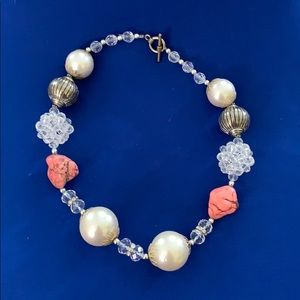 Beautiful Statement Necklace-Coral, White & Silver